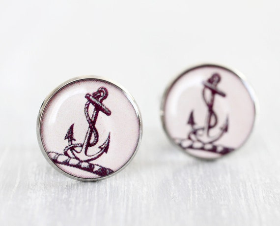 Anchor cuff links - nautical gift for men groomsmen wedding party him silver cufflinks accessories