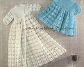 Christening Gowns Vintage Crochet PDF Pattern B045 from WonkyZebraBaby