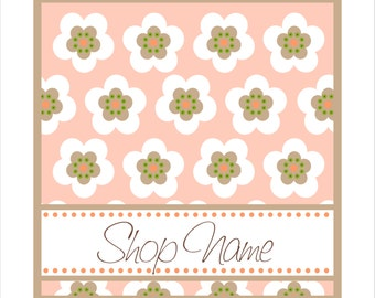 Premade Etsy set banner with avatars flowers daisy grid style in orange pink white green dots pattern 9 not OOAK image files pastel colors