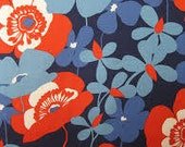 "Sofia in Navy and Red Floral Home Dec Fabric by Alexander Henry  - 1/2 yard, Additional Available - 46"" wide"