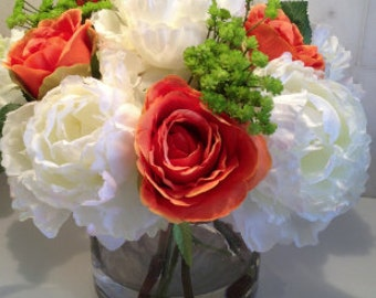Fine Silk Floral Arrangement Faux white Peonies and orange roses with Illusion water by La Fleur