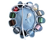 Blue Sewing Kit Pouf with 12 Spools of Thread, Needle Threader, and Needles