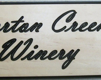 Personalized Outdoor Wood Plaque Sign Engraved Stained and Painted 2 Lines W/ Grapes