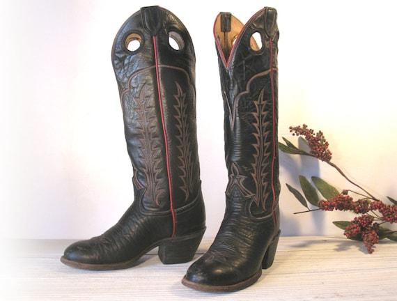 Vintage Cowboy Boots Tony Lama Black Label Black By