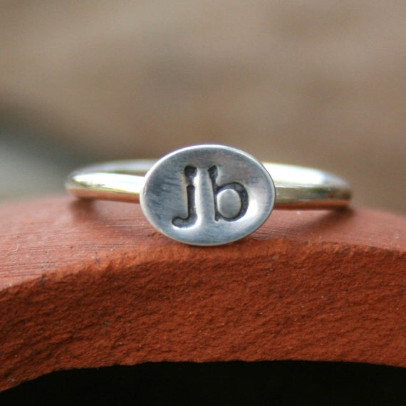 personalized sterling silver ring custom initials