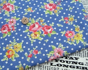 LF123 - Linen Cotton Blended Fabric - Rose and dot - blue  - 1/2  yard