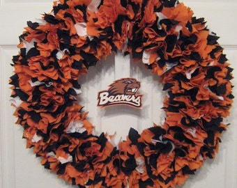 Oregon State Fabric Wreath--Picture displays how your wreath will look with team logo (must be attached by consumer)