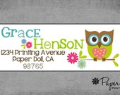 Adorable Owl on a Branch with Flowers - Return Address Labels - Stickers