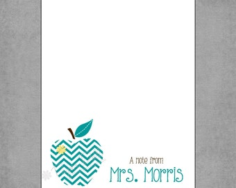 Teacher Notepad - Stylish Teal Chevron Apple with Yellow Flower - Assorted Colors - Personalized Custom Notepads - Teacher Gift - Debbie
