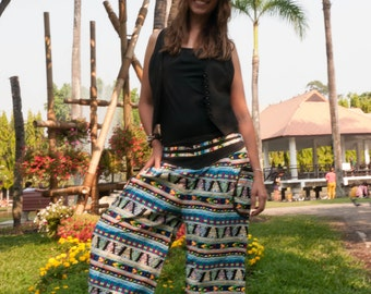 Thai Harem Pants Batik Cotton, Black w Mixed Yellow  blue white Jungle Design, Ribbon Waistband (S-L) one size fits all
