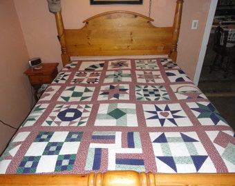 Handmade Red, Green, White and Blue Americana Sampler Patchwork Quilt, Machine Pieced, Hand Quilted