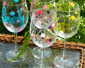 Personalized Wine Glasses - Monogrammed with Name