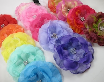 Flower Hair Clip - Pink White Black Orange Green Flower Hair Bow - YOU PICK ONE