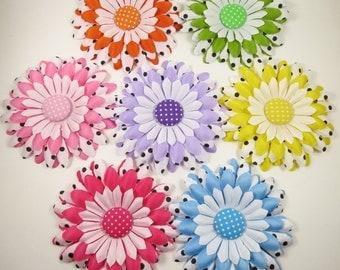 Polka Dot Flower Hair Clip - Pink Yellow Purple Blue Orange Green Flower Hair Bow - Polka Dot - YOU PICK ONE