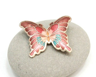 Sale Vintage Butterfly Brooch, Copper Colored Enamel, 1970's