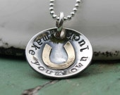 Hand Stamped Necklace - Personalized Necklace - Make Your Own Luck - Horseshoe Necklace