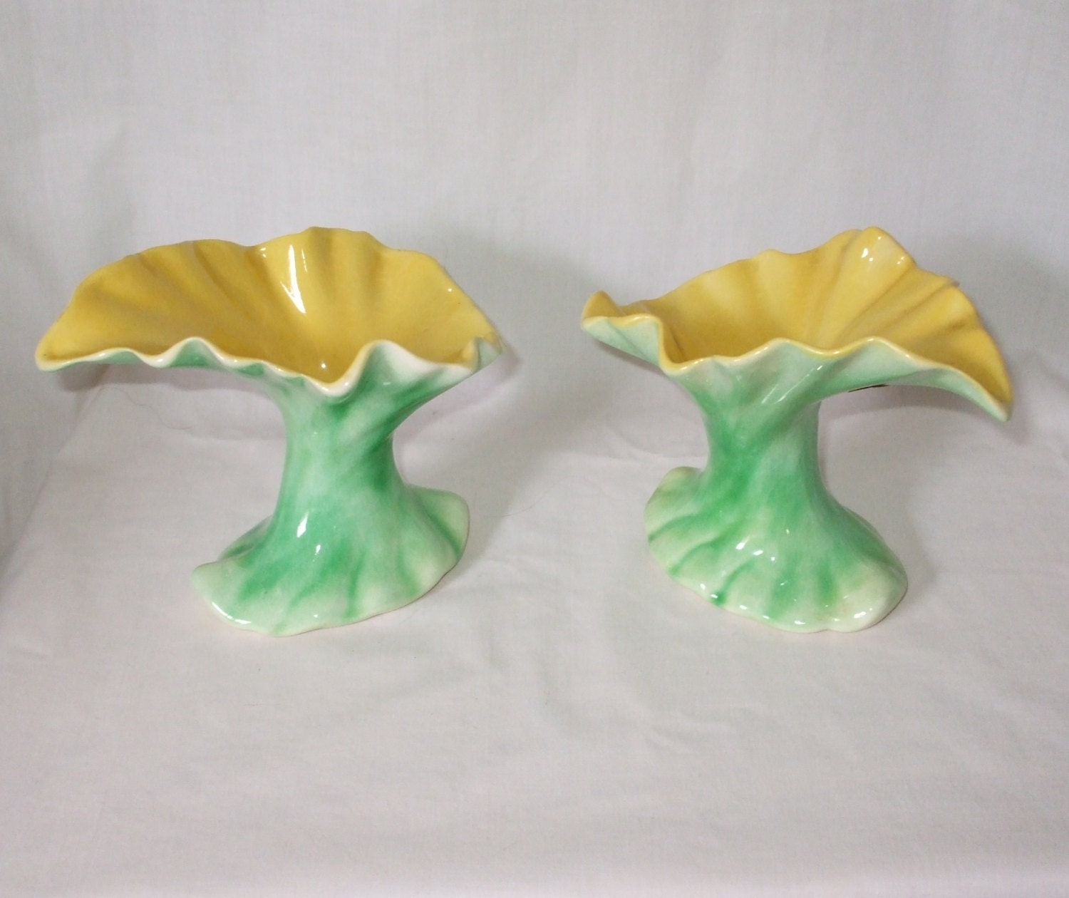 Vase pair acanthus leaf vases 1940s home decor green yellow by for Acanthus leaf decoration
