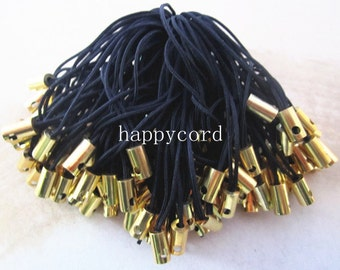 60pcs  55mm Black mobile cell phone key strap chain (with gold color connector)