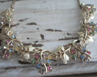 Collectible Mid Century Gold Tone Floral Multi Color Rhinestone Necklace