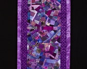 XOXOXO//Art Quilt Collage: Wallhanging in Lavender, Purples, Mauve