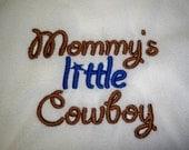 Cowboy Bib - Baby Boy Cowboyl Bib - Mommy's Little Cowboy Baby Bib - Brown and Blue Cowboy Baby Bib
