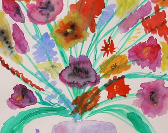 Like Colorful Stars Original Watercolor Painting Mary Carol Williams art MCW Primitive Folk Flowers