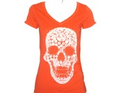 Orange White swarovski diamonds skull tshirt for women, orange V neck tee