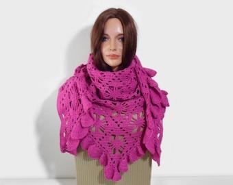 Crochet Shawl, Handmade Triangle Shawl, Fuchsia Pink, Lace Crochet Shawl, Gift for Her, Pink Scarf, Women Fashion