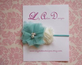 Aqua jeweled flower with mini cream flower headband/ newborn headband/ baby headband