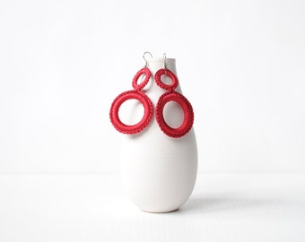 Crochet earrings, minimal earrings, red hoop earrings, modern earrings, geometric earrings, Crochet jewelry
