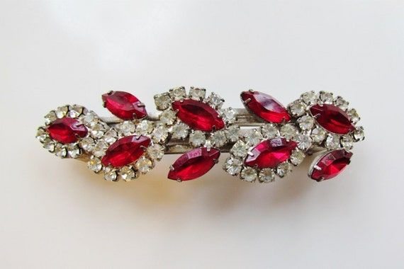 Vintage rhinestone barrette - 1950's, made in France