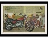 1980 KAWASAKI  KZ440 & Cheerleader Motorcycle Ad, Vintage Advertisement Print