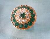 Emerald Green Brooch - Vintage Emerald Broach - Rhinestone Brooch - Vintage Costume Broach - Vintage Coro Brooch