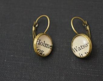 Sherlock Holmes 'Holmes' and 'Watson' bronze earrings