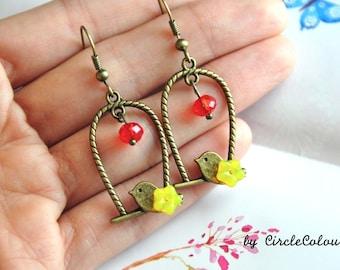 Bird Cage Earrings - Bird Cage & Yellow Flower Dangle Earrings - Antique Bronze Earrings Hook