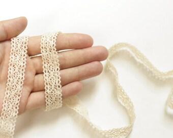 Unbleached Cotton Crochet Lace Trim, Torsion Lace, Ivory / Off White Lace - 2 yards (Style E)