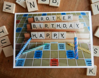 Brother - Dad - Grandpa Happy Birthday handmade Scrabble or Words with Friends Greeting Card with candle embellishment