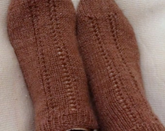DISCOUNT - Knitting Home Slippers - Dark Brown Slippers - Handmade Home Dark Brown Socks