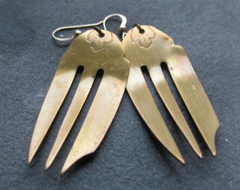 recycled BRASS silverware COCKTAIL FORK earrings