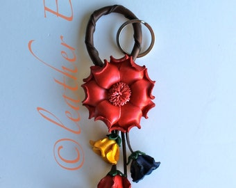 leather RED flower key ring & purse charm