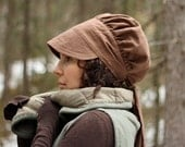 SALE Wrap Bonnet Sun Hat in Brown Linen