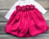 EASTER Satin Baby Dress, Infant Holiday Bubble Dress Couture Baby wedding / party Dress available in 33 colors Bella Baby Blu Dress 6229