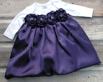 Eggplant Satin Baby Dress, Infant Holiday Bubble Dress Couture Baby wedding / party Dress available in 33 colors Bella Baby Blu Dress 6279