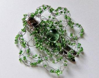 Lime Green Flower Beaded Crochet Hair Clip