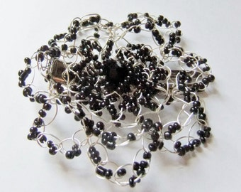 Wire Crochet Flower Hair Clip, Black