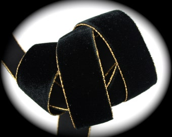 """Velvet Ribbon  1"""" x 1 yard All Rayon Black with Brassy Gold Edge  - Gorgeous Velvet - Buttery Soft"""