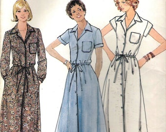 1980's Sewing Pattern - Butterick 5924 Button dress with pointed collar  Size 12