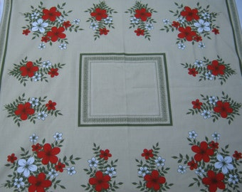 On Sale - 1960s Vintage Tablecloth with Red and White  Floral Display on Pale Green Background