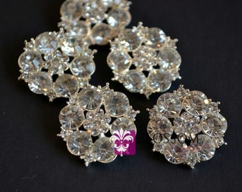 Metal Rhinestone Buttons Crystal Clear with Loop 23mm - Flower Centers - Wedding Bridal Prom Jewels Sparkle Blossom Supplies Wholesale Craft