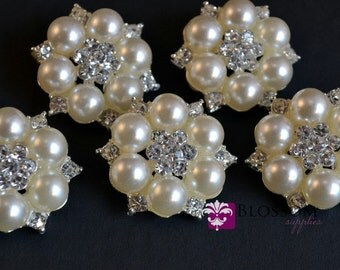Flat Back Rhinestone Pearl Metal Buttons Crystal Clear 26mm - Flower Centers - Wedding Bridal Prom (BS740)